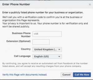 Facebook page verification step 2
