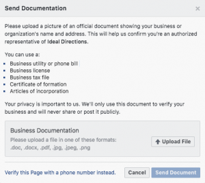 Upload document. Facebook verification